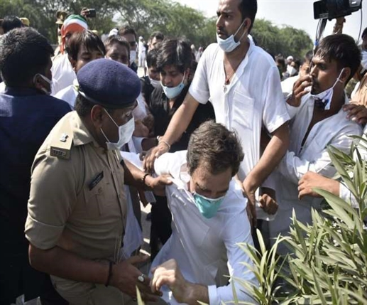 High voltage drama on the Yamuna Expressway Rahul Gandhi falling during a collision Lathicharge on workers