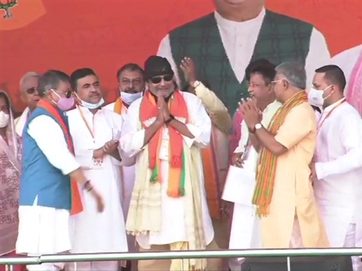 Bollywood Actor Mithun Chakraborty joins BJP ahead of PM Modi rally in Kolkata
