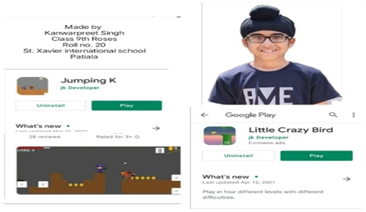 Video games made by 13 year old boy in two months games made by Kanwarpreet available on Play Store