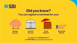 SBI Nominee registration process via SBI App YONO Net Banking and branch visiting details