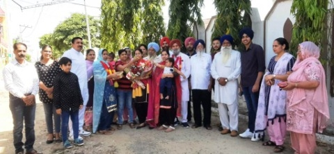 Dr. Opinderjit Kaur received a warm welcome on arrival at the village