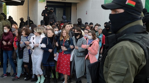 Police arrest 320 women marching in Minsk