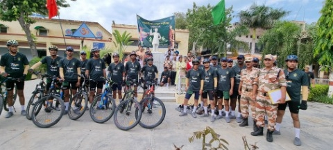 Bicycle rally of ITBP jawans reached Jagraon from Amritsar