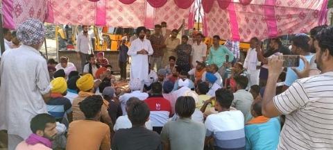 protest against center govt in barnala