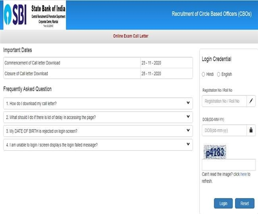 Admit Card for Circle Based Officers Examination issued at sbi Website