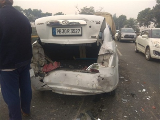 two cars accident with truck