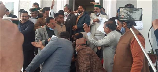 Ruckus done by Congress as Himachal Pradesh Governor started budget session speech at Shimla