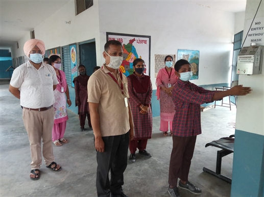 government schools open in the district started the first day with great enthusiasm and enthusiasm