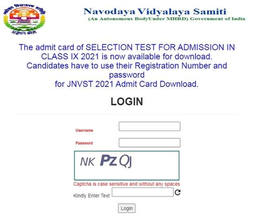 JNV class 9 admit card 2021 released at nvsadmissionclassnine in download hall ticket for jnv standard 9 selection test scheduled to be held on february 24