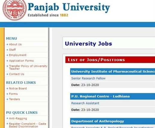 Jobs created by Punjab University in various positions including Technical Manager