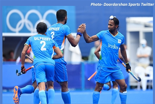 India stunning victory in hockey defeating defending champions Argentina to reach the quarterfinals