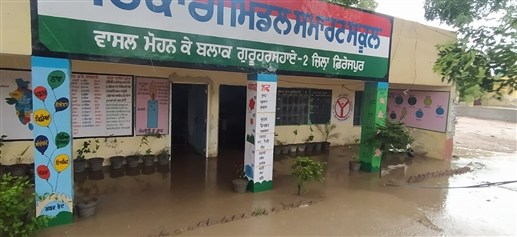 Open poles of development works with heavy rains collapsed school wall due to rapid flow of water |